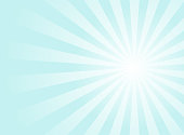 Sunlight background. Pale blue color burst background with white highlight. Fantasy Vector illustration. Magic Sun beam ray sunburst pattern background. Retro faded backdrop.