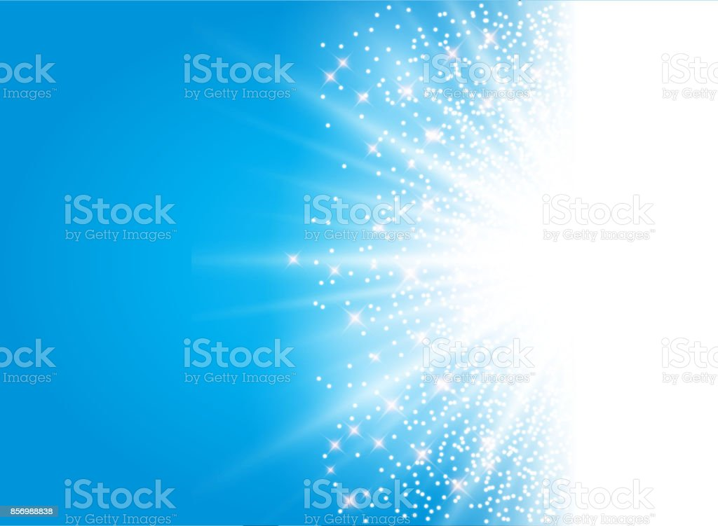 sunlight effect sparkle on blue background with glitter copy space. Abstract vector vector art illustration