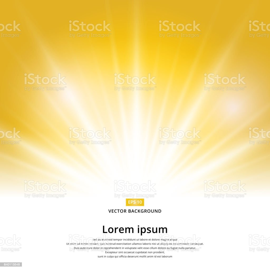 sunlight effect sparkle on yellow background with copy space. Abstract vector - Grafika wektorowa royalty-free (Abstrakcja)