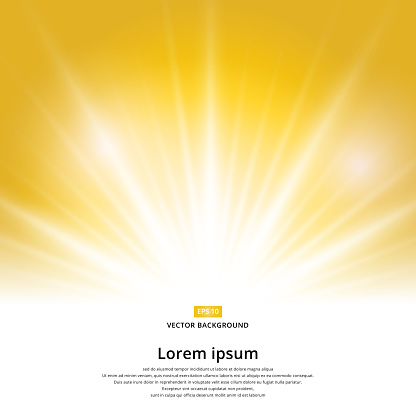 sunlight effect sparkle on yellow background with copy space. Abstract vector