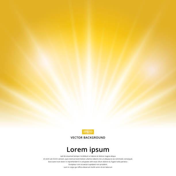 햇빛 효과 복사 공간와 노란색 배경에 스파클. 추상적인 벡터 - 밝은 빛 stock illustrations