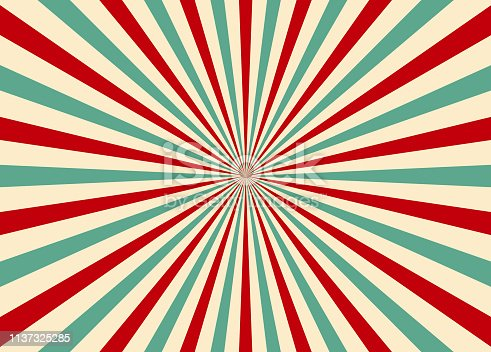istock Sunlight retro vertical background. Ray pattern background. Old starburst. Circus style 1137325285