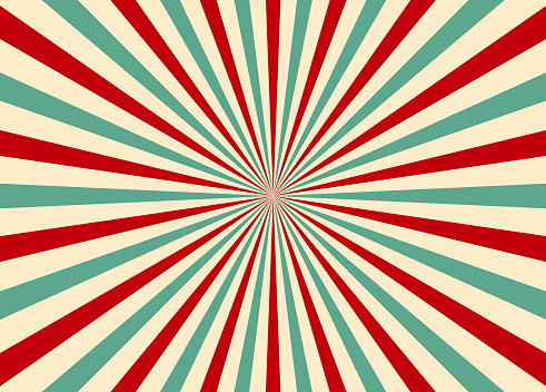 Sunlight retro vertical background. Ray pattern background. Old starburst. Circus style