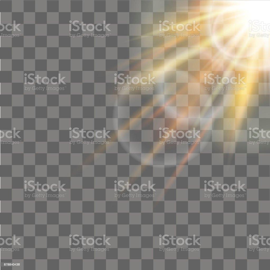Sunlight special lens flare light effect on transparent background. Vector. vector art illustration