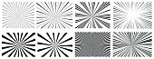 Abstract Background Cartoon Sunlight Stripes set