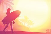 The surfer girl at the beach against the sun. Pink Surfer Silhouette on a background with sunlight effects. The Size of illustration is 200x300 mm or 2 to 3 proportionally. Eps 10. Horizontal orientation. This file contains transparency effects, gradient fills.