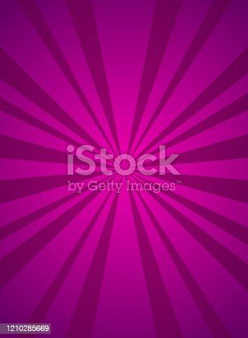Sunlight vertical background. Purple color burst background. Vector illustration. Sun beam ray sunburst wallpaper. Retro bright backdrop. starburst wallpaper. Circus poster or placard
