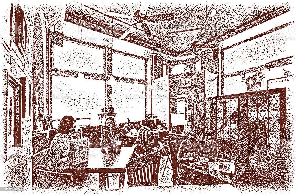 Sunlit Cafe royalty-free stock vector art