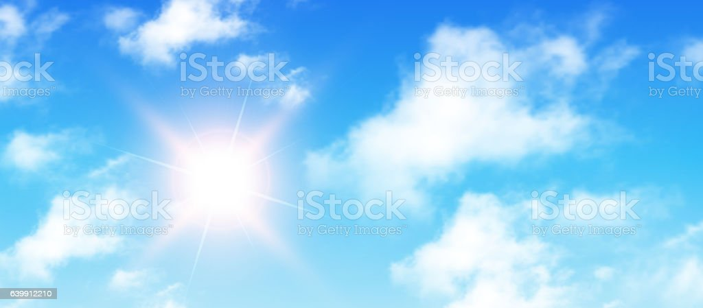 Sunny background, blue sky with white clouds and sun vector art illustration