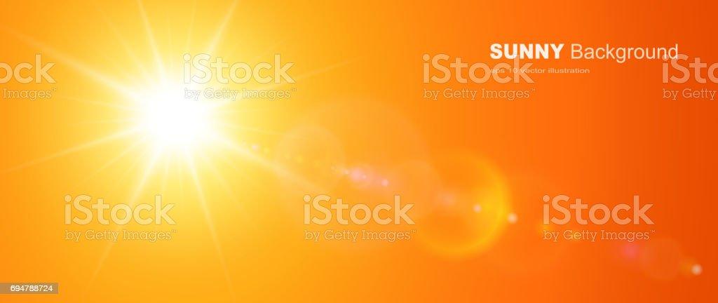 Sunny background, orange sun with lens flare