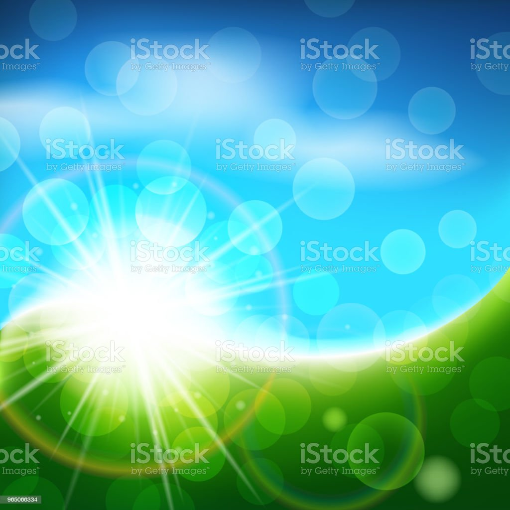 Sunny blue and green vector background, bright spring and summer abstract landscape sunny blue and green vector background bright spring and summer abstract landscape - stockowe grafiki wektorowe i więcej obrazów abstrakcja royalty-free