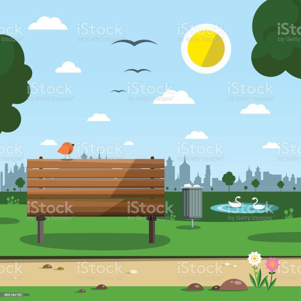 Sunny Day in Park vector art illustration