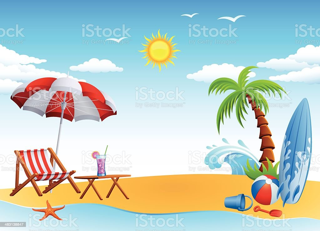 Sunny Day on the Beach royalty-free stock vector art
