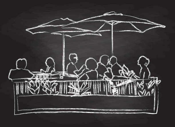 Sunny Day Shady Patio Blackboard illustration of people sitting and eating out on a terrace patio stock illustrations