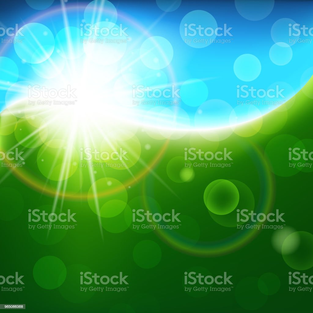 Sunny green blue vector background, bright spring and summer abstract backdrop royalty-free sunny green blue vector background bright spring and summer abstract backdrop stock vector art & more images of abstract