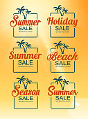 drawn of vector summer holiday sign set. This file of transparent and created by illustrator CS6.