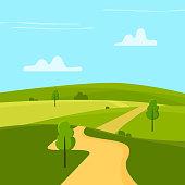 Sunny landscape. Flat cartoon style vector illustration.