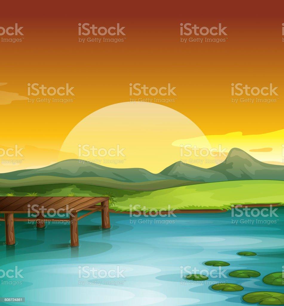 Sunny landscape vector art illustration
