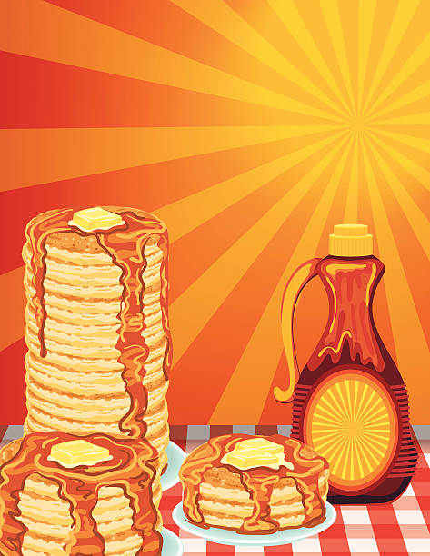 Sunny Morning Pancake Breakfast Poster Poster or flyer for a pancake breakfast fundraiser event. Along the bottom horizontally  from left to right are three plates with various amounts of pancakes stacked with drizzling syrup and melting pat of butter on each and a bottle of syrup on a red and white checkered tablecloth on a sunny morning background.  The top features an area for text. Several layers for easier editing. maple syrup stock illustrations