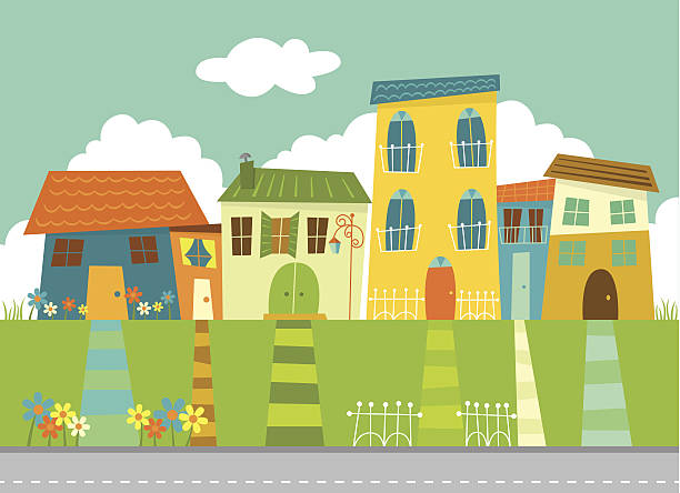 Sunny neighborhood vector art illustration