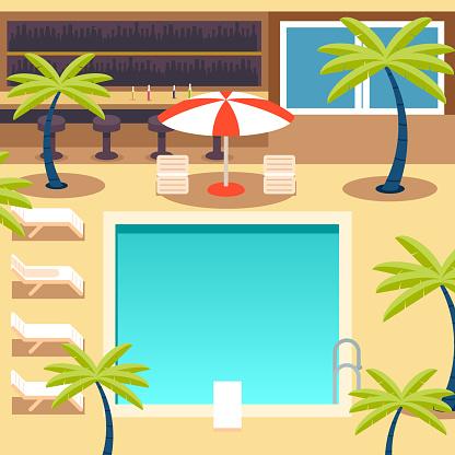 Sunny Pool Hotel Summer Vacation Tourism Journey Symbol Ocean Sea