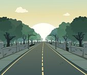 Cartoon vector of a road on a sunny day