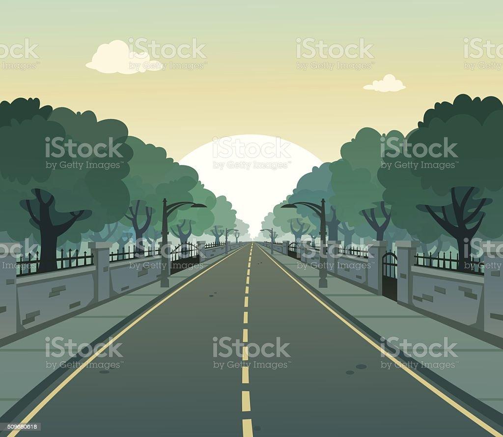 Sunny Road vector art illustration