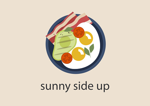 Sunny side up fried eggs with bacon and grilled avocado, breakfast ideas, keto diet