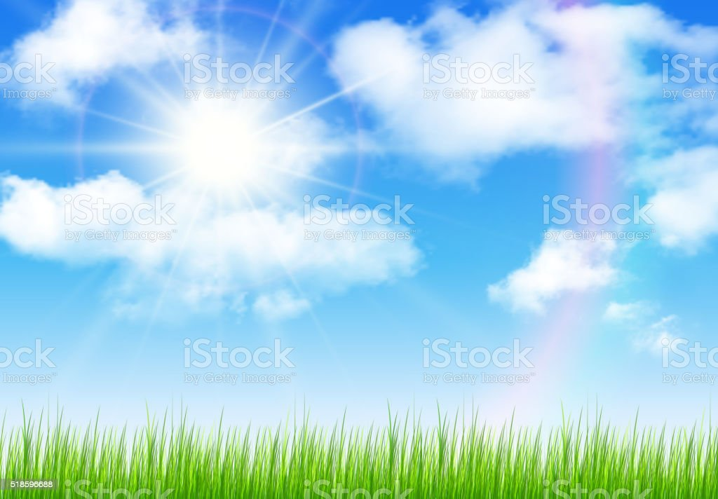 Sunny sky background vector art illustration