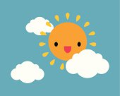 Vector illustration of smiling sun on the sky.