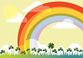 Spring landscape with rainbow and shamrock.  St. Patrick's day card.