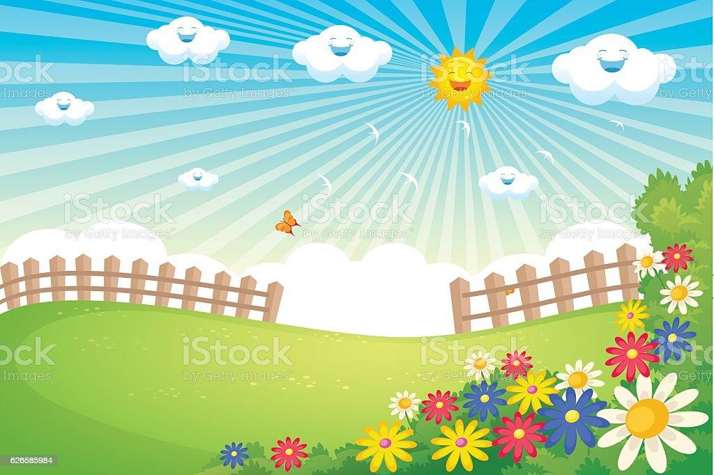 Sunny Spring Landscape Vector vector art illustration