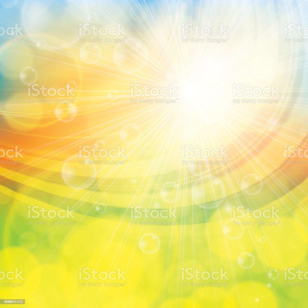 Sunny spring summer abstract background vector art illustration