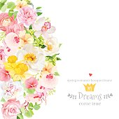 Sunny spring vector design card with white peony, yellow daffodils, pink orchid, ranunculus, camellia, carnation, green hydrangea, rose and bright spring leaves. All elements are isolated and editable