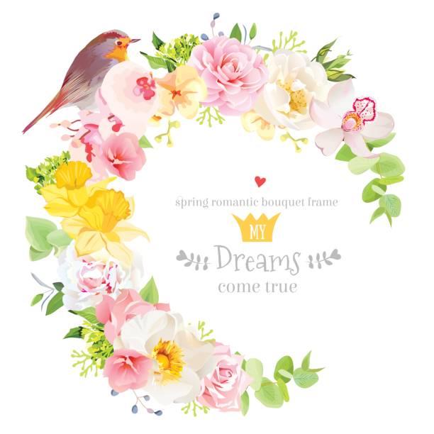 日当たりの良い春ベクター デザイン ラウンド ロビン鳥とフレーム - 春のファッション点のイラスト素材/クリップアート素材/マンガ素材/アイコン素材