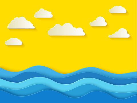 Sunny summer day with white clouds. Sea background in paper style.