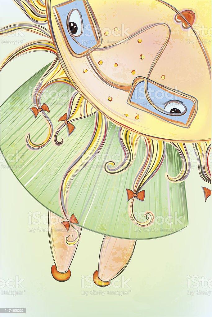 Sunny Summer Girl vector art illustration
