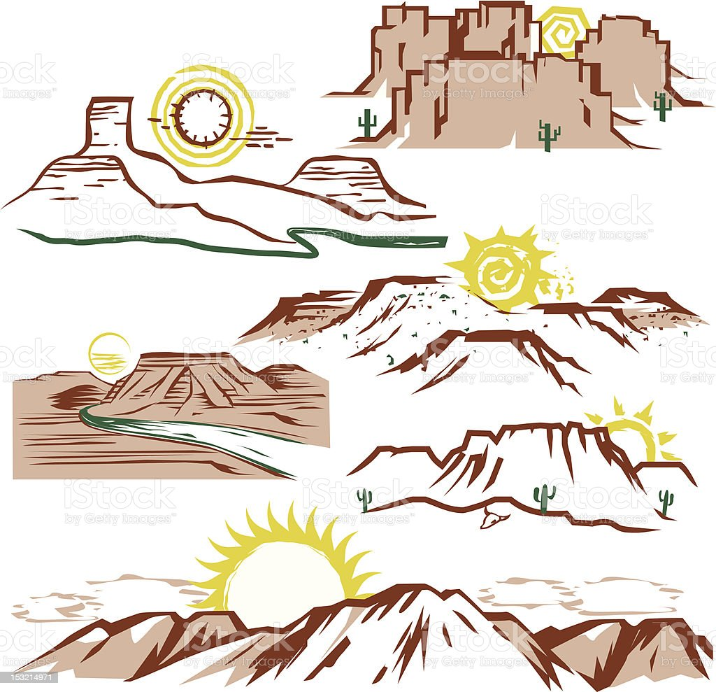 Sunny Mesas vector art illustration