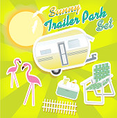 Sunny trailer park summer celebration green and yellow