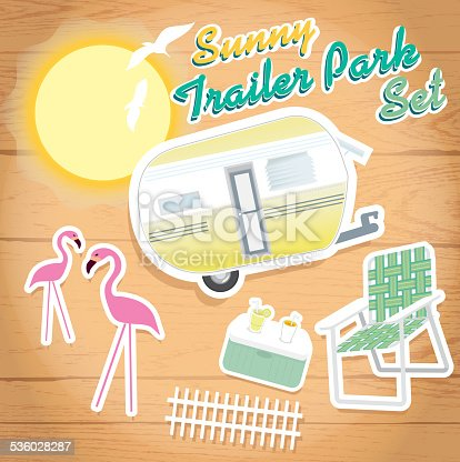 Vector illustration of sunny trailer park set. Wood grain background.  Includes trailer, pink flamingos, cooler with beverages, picket fence and lawnchair. Bright sun in background with shading. Fun summer times, relaxing times, beach, drinks, restful, travelling, family, friends, cool, ice tea, lemonade. Vacation, holidays, ice, retro, camper, games, laughing, party.