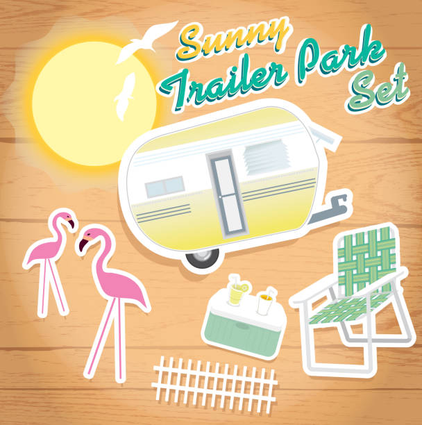 Mobile Home Or Camper Icon Vector Art Illustration Sunny Trailer Park Summer Celebration Set