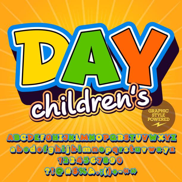 ilustraciones, imágenes clip art, dibujos animados e iconos de stock de conjunto de vectores soleado del alfabeto para el día de los niños - tipos de letra de historietas