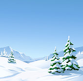 Vector illustration of a winter mountain landscape with snowy fir trees, hills and mountains.