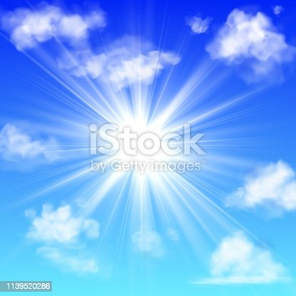 Sunny with clouds. Blue sky with white cloud and sun ray fluffy fog clouding isolated realistic vector background