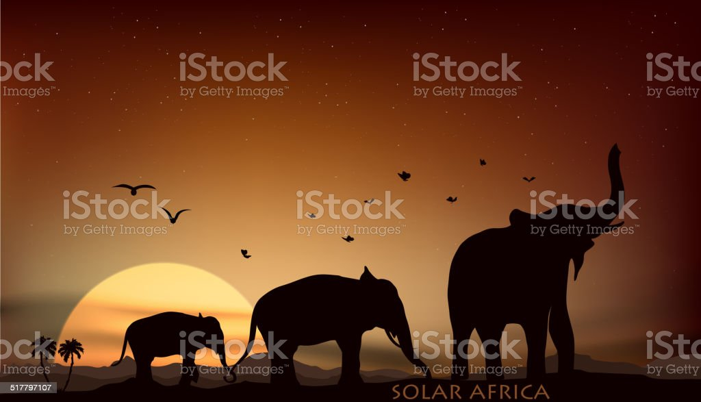 sunrise and sunset over the savannah with three elephants vector art illustration