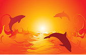 Dolphins jumping. The dolphins can be easily remove from the image. Zip file contains EPS-8, AI-CS2, and Hi res JPG.