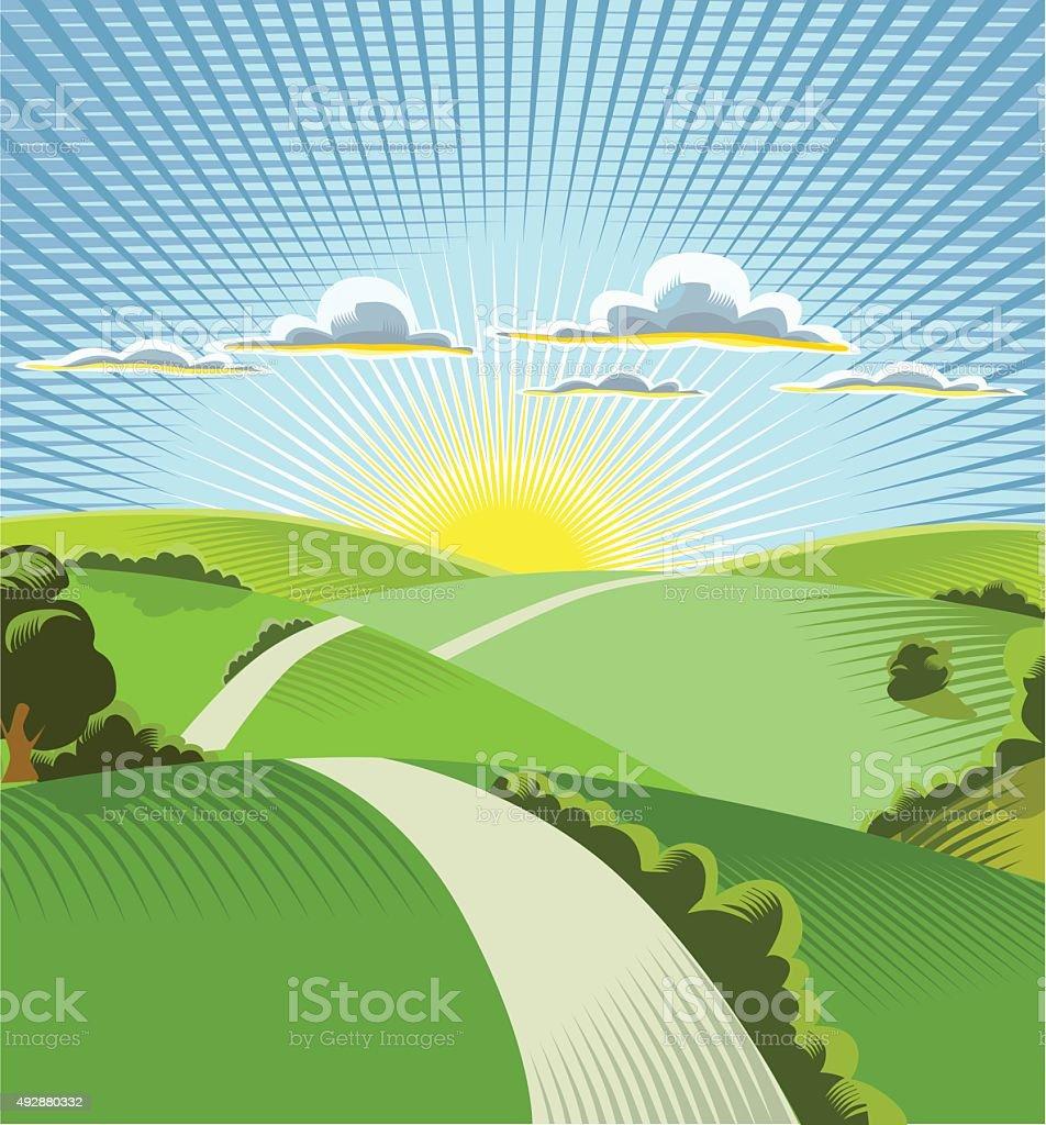 sunrise horizon - portaite vector art illustration