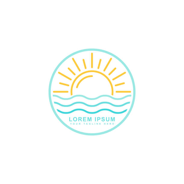 sunrise icon vector - horyzont stock illustrations