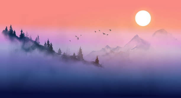 Sunrise in misty mountians. Traditional oriental ink painting sumi-e, u-sin, go-hua. Sunrise in misty mountians. Traditional oriental ink painting sumi-e, u-sin, go-hua mountains in mist stock illustrations