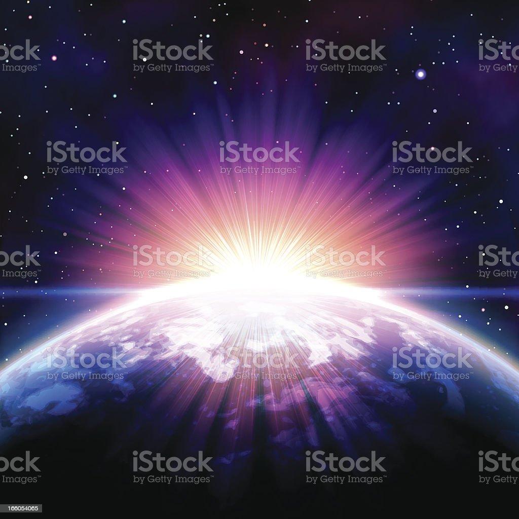 Sonnenaufgang im Raum – Vektorgrafik